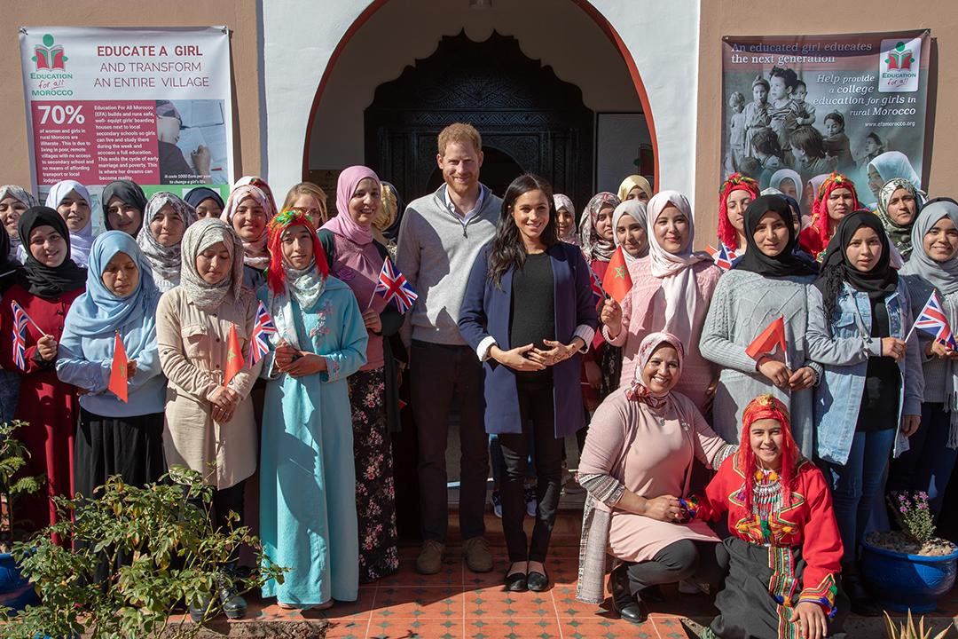 Le prince Harry et son épouse Meghan Markle lors d'une visite au Maroc en février 2019.