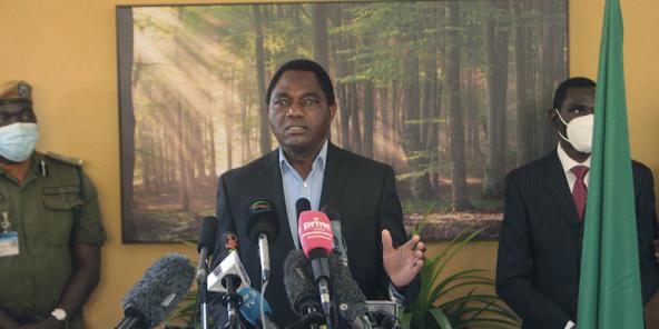 Hakainde Hichilema, lors d'une conférence de presse à son domicile, à Lusaka, le 16 août 2021.