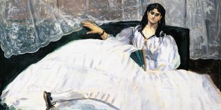 «La Dame à l'éventail» ou «La Maîtresse de Baudelaire», d'Édouard Manet (1862), musée des Beaux-Arts de Budapest.
