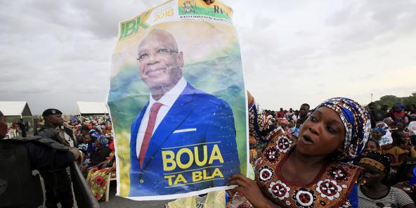 Partisans d'Ibrahim Boubacar Keïta, à Bamako, le 10 août 2018, durant l'entre-deux-tours de la présidentielle.