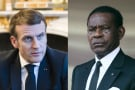 Emmanuel Macron, le président français, et Teodoro Obiang Nguema Mbasogo, son homologue équato-guinéen.