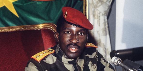 Le capitaine Thomas Sankara, président du Burkina Faso, le 7 février 1986 à Paris.