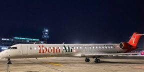 Bombardier CRJ 900 de la compagnie Ibom Air, à Lagos, le 05 mai 2020.