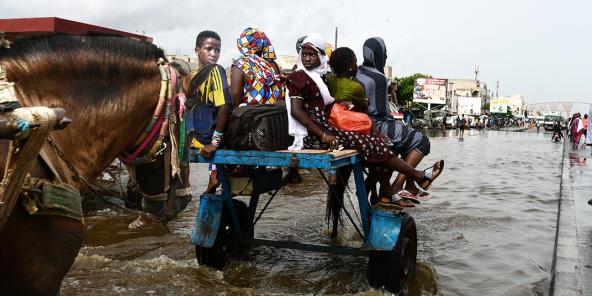 Après de fortes pluies, des habitants de Dakar sont évacués grâce à des attelages. Le 22 août 2021.