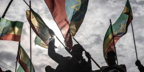 Rassemblement de soutien aux forces armées éthiopiennes à Addis-Abeba, le 8 août 2021.