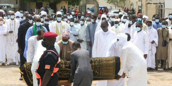 Lors de l'enterrement de Hissène Habré à Dakar, le 26 août 2021.