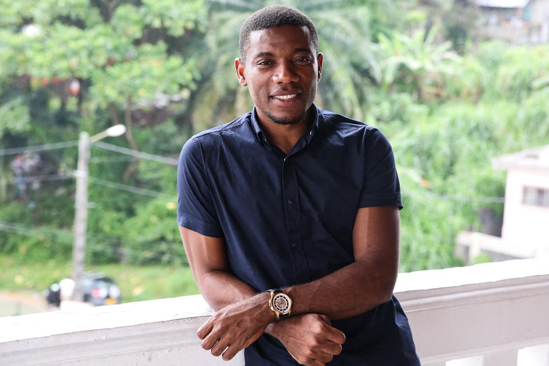 Rémy Ebanega, président de l'Association nationale des footballeurs professionnels du Gabon, en 2018, à Libreville