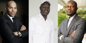 De g. à droite : Karim Wade, Khalifa Sall et Ousmane Sonko