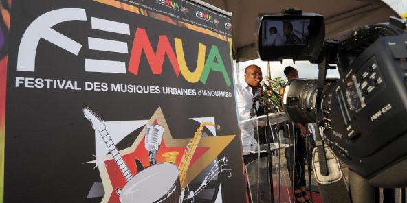 A'Salfo, le chanteur du groupe Magic System, lors de l'ouverture du Festival des musiques urbaines d'Anoumabo (Femua) à Abidjan le12avril2013.
